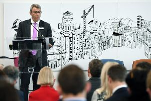 A report which analyses the economic impact of the Wellington Place development in Leeds is discussed at 3 Wellington Place, Leeds. Pictured James Dipple (chief executive of MEPC). 10th April 2019. Picture Jonathan Gawthorpe