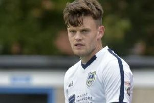 Reece Thompson playing for Guiseley AFC in 2017