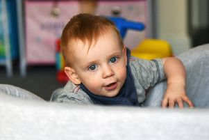 18 month old Jack Humphreys from Morley, who has a rare genetic condition called Nephrogenic Syndrome of Inappropriate Antidiuresis (NSIAD). 'Picture Jonathan Gawthorpe