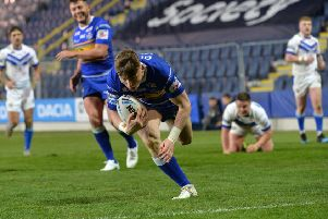 Harry Newman scores his fourth try against Workington Town.