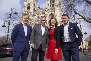 From left to right: Former LTS director Mark Mills, The Technology Group's acquisitions director David Marsden, former LTS director Sarah Mills and The Technology Group's CEO Jonathan Marsden celebrate the acquisition in York.