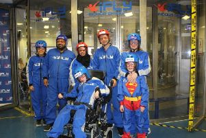 DAREDEVILS: A team from Little Hiccups at an indoor skydiving session at i Fly. The charity, whose hashtag is #Nolimits, has also done skiing.