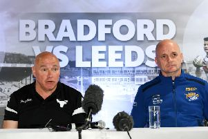 Bradford Bulls head coach John Kear, left, with Leeds Rhinos' interim coach Richard Agar ahead of Saturday's Challenge Cup clash. 'Picture: Jonathan Gawthorpe.