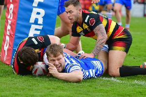 Ben Kaye pictured scoring against Dewsbury Rams last year.