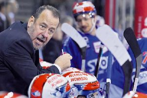IN THE KNOW: Paul Thompson, seen on the Wild Wings bench during the 2018-19 season. Picture courtesy of Schwenninger Wild Wings.