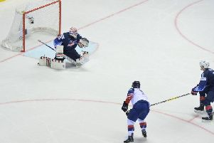 FINAL WORD: Ben Davies fires high for GB's third goal against the USA. Picture: Dean Woolley.