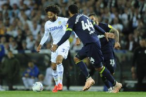 Leeds United's Izzy Brown in action against Derby County.