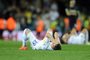 MISERY: Playmaker Pablo Hernandez is left devastated by Leeds United's Championship play-off semi final second leg defeat to Derby County at Elland Road. Picture by Tony Johnson.