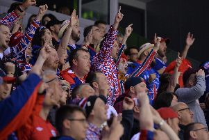 GB's fans get behind their team in Losice, Slovakia. Picture: Dean Woolley.