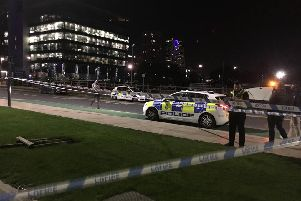A car has smashed into the Google offices in Leeds city centre