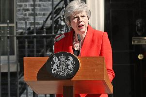 Prime Minister Theresa May makes a statement outside at 10 Downing Street in London, where she announced she is standing down as Tory party leader on Friday June 7. Photo: Yui Mok/PA Wire