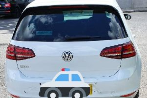 The white VW seized by police in Beeston. Photo: West Yorkshire Police/Twitter