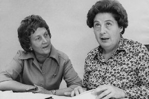 Betty Lockwood, Baroness Lockwood (right), chairman of the Equal Opportunities Commission, and Lady Howe, the deputy chairman, at their Mayfair office, London, 21st September 1976. Photo by Keystone/Hulton Archive/Getty Images.