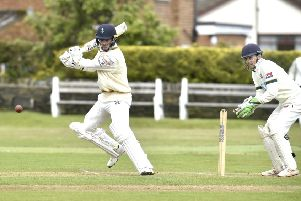 Jordan Thompson, of Pudsey St Lawrence, hit 82 and chipped in with figures of 4-23 against visitors New Farnley. PIC: Steve Riding