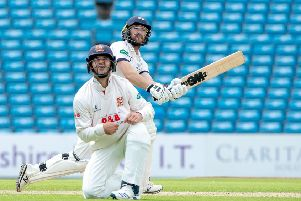 Adam Lyth hits a six off a Sam Cook delivery.   Picture Bruce Rollinson