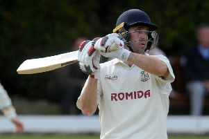 Sam Frankland hit 116 in a first-wicket partnership of 219 with Tim Jackson (101) as Woodlands beat Methley by 225 runs in the Priestley Cup. PIC: Steve Riding