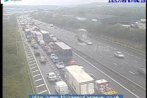 Traffic on the M1 northbound on Friday afternoon after a fatal crash near Sheffield.