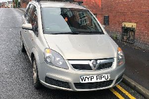 The driver of this car in Harehills tried to lock himself in in an attempt to avoid police