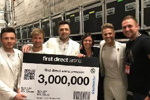 Westlife helped firstdirect arena welcome three milion visitors this week.