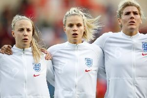 Beth Mead, Rachel Daly and Millie Bright of England.