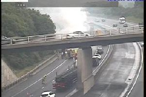 Fire fighters are battling a HGV fire on the A1 between Boston Spa and Wetherby