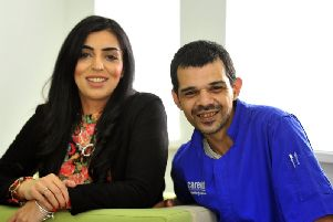 Thaira Farooq senior care co-ordinator at Leeds Carewatch (left) with Syed Rahman, who has found a job he loves as a carer.