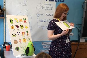 Artist Helen Gibson, known as the Perky Painter, visiting West End Primary School in Horsforth