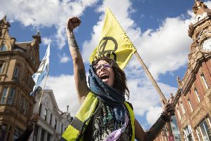 An Extinction Rebellion protester in Leeds city centre. Picture: PA