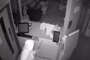 Still from the CCTV footage of the break-in at Leeds Kitty Cafe.