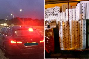 The van was pulled over and the van driver fined 300 for having too many tissues on board. Photos: West Yorkshire Police
