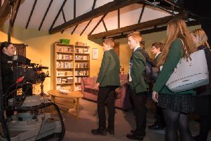 Students enjoying a production workshop at the Emmerdale Studio Experience in Leeds.