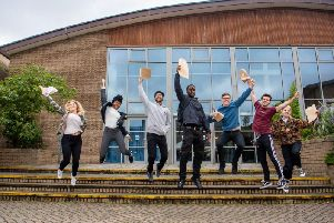 Students at Abbey Grange Church of England Academy celebrating results day.