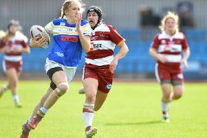 Caitlin Beevers scores for Leeds Rhinos in last year's Grand Final.