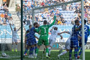AT THE DOUBLE: Patrick Bamford scores his and Leeds United's second goal in the 2-0 win at Wigan Athletic. Picture by Bruce Rollinson.