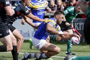 Joel Moon scores his third try during the Super 8s Qualifier between London Broncos and Leeds Rhinos at Ealing last year.