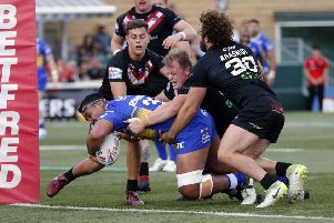 Ava Seumanufagai powers over for a try at London Bronocs.