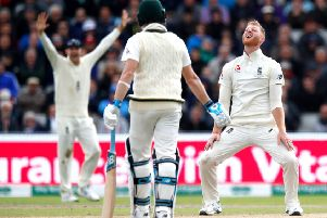 England's Ben Stokes (right) reacts after an lbw appeal is rejected.