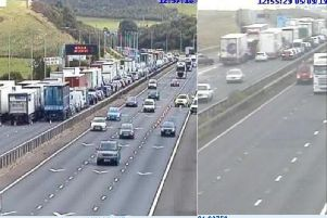 The scene of the crash on the M62. Photo: Highways England