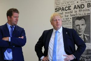 Prime Minister Boris Johnson (right), meets Yorkshire Post editor James Mitchinson in Leeds