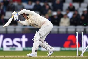Jason Roy is clean bowled by Josh Hazlewood at Old Trafford. Picture: Gareth Copley/Getty Images