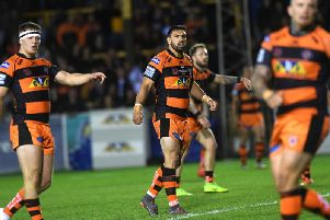Castleford Tigers prop Matt Cook, centre, back in action against Hull FC. (PIC: JONATHAN GAWTHORPE)