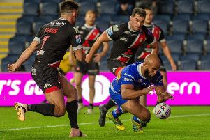 Jamie Jones-Buchanan scores Leeds Rhinos' second try against Salford Red Devils. Picture: Bruce Rollinson.