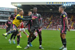 ANSWERING THE CALL: Eddie Nketiah celebrates his fourth goal in a Leeds United shirt in Sunday's 2-0 win at Barnsley. Picture by Tony Johnson.