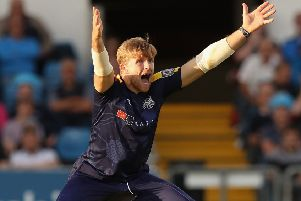David Willey, of Yorkshire CCC, appeals during a Vitality Blast match with Mazars on the front of the kit.  (Pic by David Rogers/Getty Images)