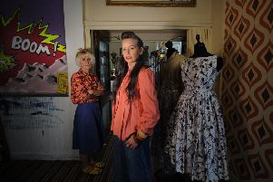 Trudy Fielding (right) from Vintage Beau and Jill Coulson from Alfie Robot at Space Harrogate. Picture by Simon Hulme Mannequin 1: 1950s Sateen Floral Prom Dress �65. 'Mannequin 2: 1970s Gold Lurex Blouse �22, 1980s Brocade Maxi Skirt �55, Purple/White Necklace �10'''Jill: 1960s Flower Print Blouse, 1970s Denim A Line Skirt.'Trudy: 1940s Coral Swing Jacket, 1980s Denim Culottes, 1980s Cut out Courtshoe