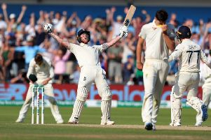 England's Ben Stokes celebrates winning the third Ashes Test match at Headingley. Picture: Mike Egerton/PA