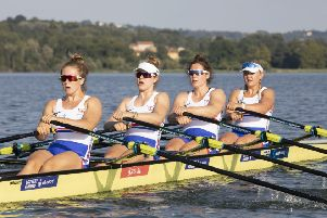 Rowing strong: Great Britain women's quad, from left, Charlotte Hodgkins-Byrne (stroke), Mathilda Hodgkins-Byrne, Melissa Wilson and., Jessica Leyden (bow). Picture: British Rowing