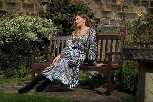 "AW19 KEY PIECES: 'The printed dress'- Helen says: ""In a flattering mid length and nipping you in at the waist, this dress an ideal style for an hourglass. The on-trend geometric print in autumnal tones with suit most skin tones. Complete your look with simple jewellery - the dress says it all.""'Dress, �89.99, Kaffe; necklace, �12, Big Metal London. At Very Stylish Girl.'''Picture by Simon Hulme"