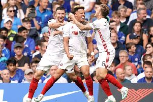 Sheffield United's Callum Robinson (centre) celebrates scoring his side's first goal of the game during the Premier League match at Stamford Bridge, London. (Picture: John Walton/PA Wire)