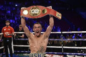 Belter: Josh Warrington after victory against Sofiane Takoucht at Leeds Arena. Picture: Steve Riding